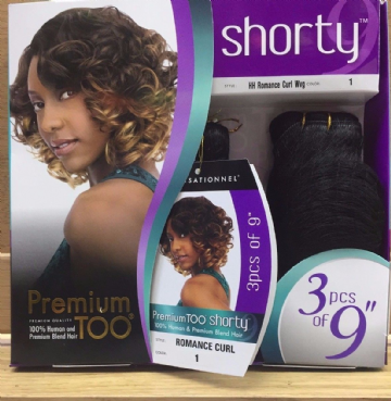 ROMANCE CURL - SENSATIONNEL TOO SHORTY HH, PREMIUM BLEND HAIR 3PCS 9""